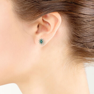 Alexandrite & Diamond Stud Earrings 18K
