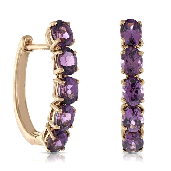 Rose Gold Rhodolite Garnet Hoop Earrings 14K