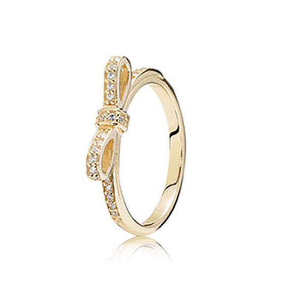 PANDORA Sparkling Bow CZ Ring, 14K