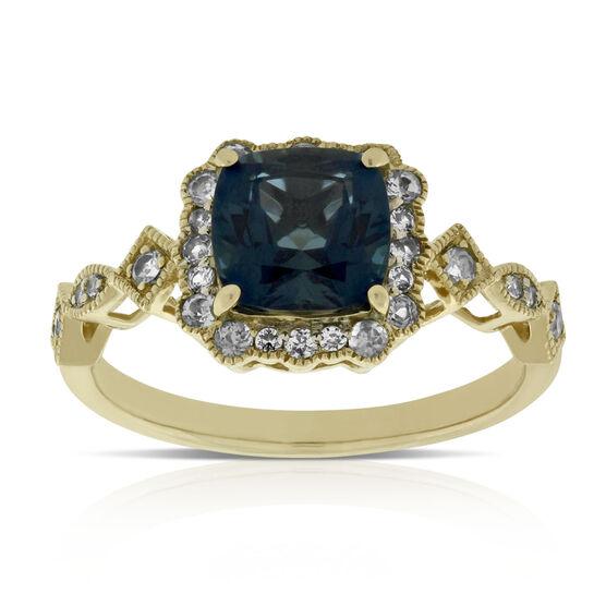 Cushion Blue Topaz Ring 14K