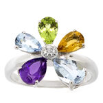 Flower Gemstone & Diamond Ring 14K