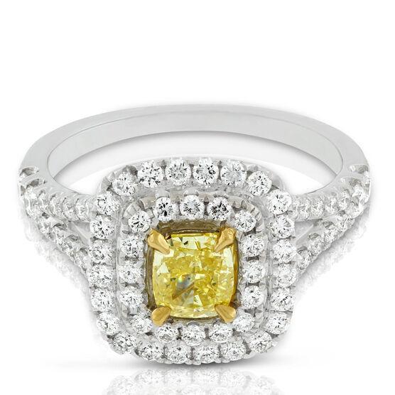 Cushion Cut Yellow Diamond Double Halo Ring 18K