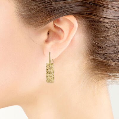 Toscano Rectangle Earrings 14K
