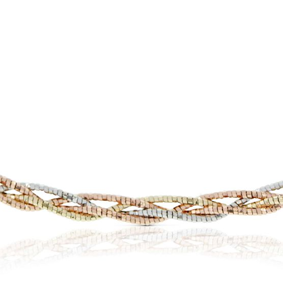 Tri-Color Braided Omega Chain 14K, 18""