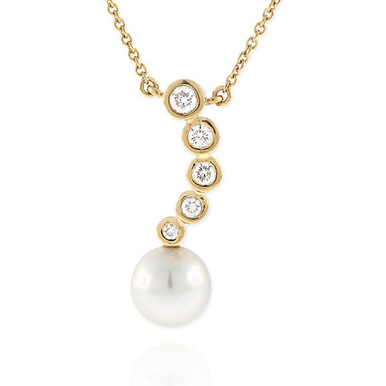 Freshwater Cultured Pearl & Diamond Necklace 14K