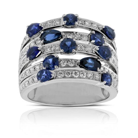 Sapphire & Diamond 5 Row Ring 14K