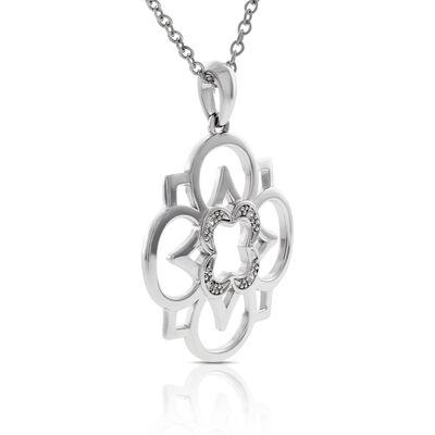 Diamond Flower Pendant in Sterling Silver