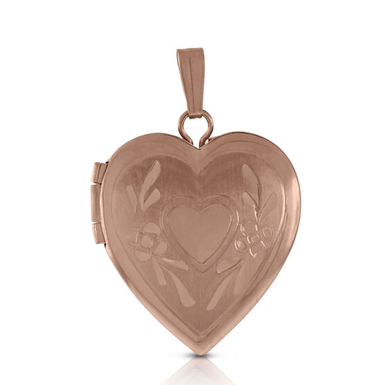Hand Engraved  Heart Locket 14K Rose