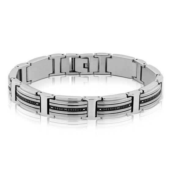 Men's Black Diamond Stainless Steel Bracelet
