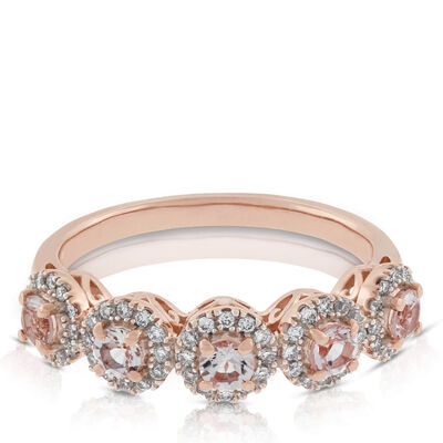 Morganite & Diamond Rose Gold Ring 14K