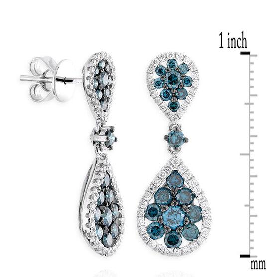 Blue Diamond Drop Earrings 14K
