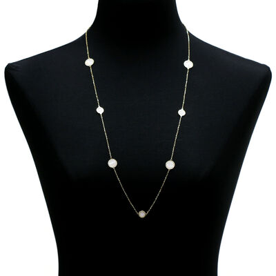 """Toscano Mother of Pearl Necklace 14K, 32"""""""