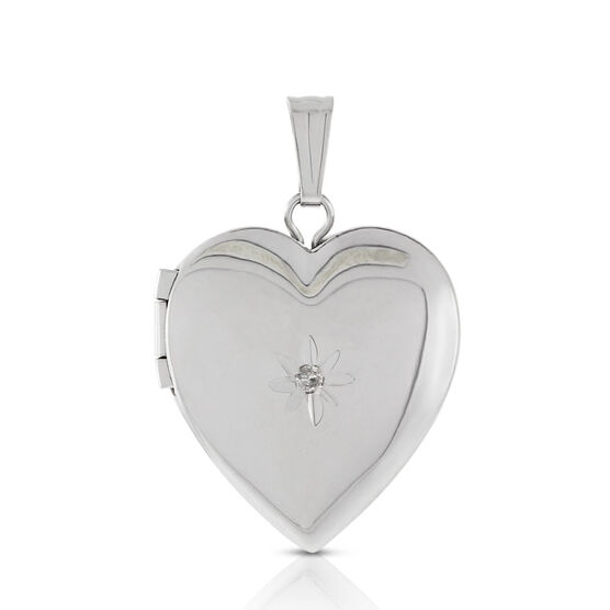 Hand Engraved Diamond Heart Locket in Sterling Silver