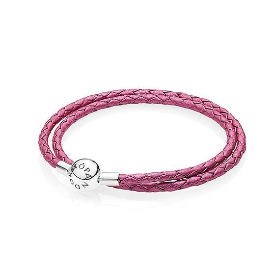 PANDORA Honeysuckle Pink Double Leather Bracelet