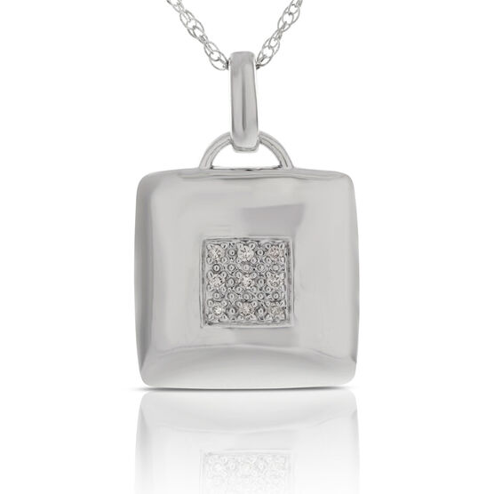 Pavé Diamond Square Pendant in Sterling Silver