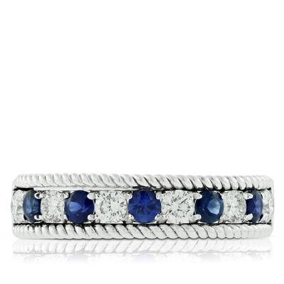 Sapphire & Diamond Wire Edge Band 14K