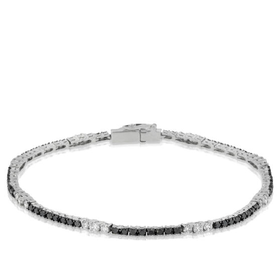 Black & White Diamond Bracelet 14K