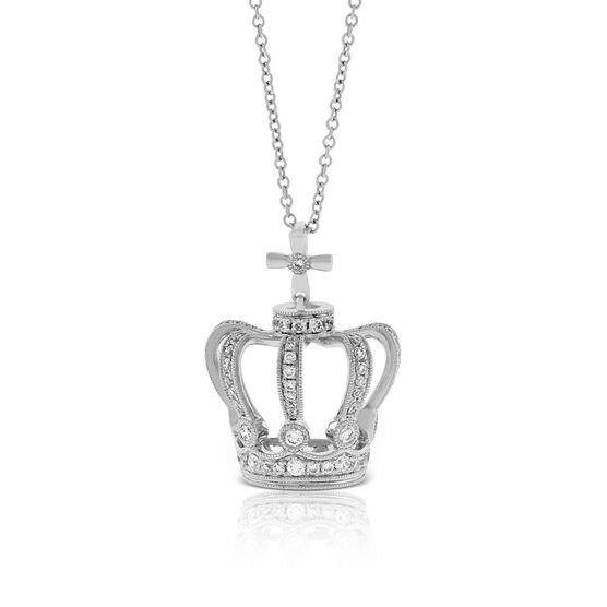 Crown Diamond Pendant 14K
