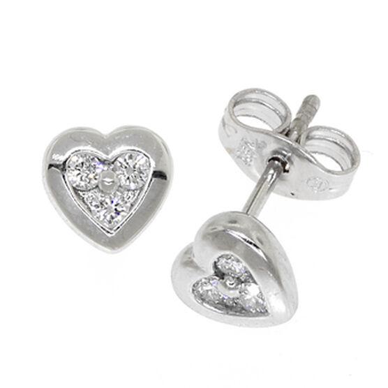 Diamond Heart Earrings in Platinum