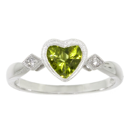 Peridot & Diamond Ring 14K
