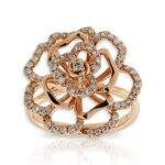 Rose Gold Diamond Floral Ring 14K