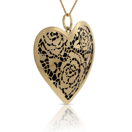 Toscano Collection Flower Heart Pendant 14K