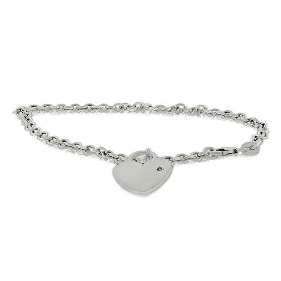 Heart Dangle Rolo Bracelet 14K