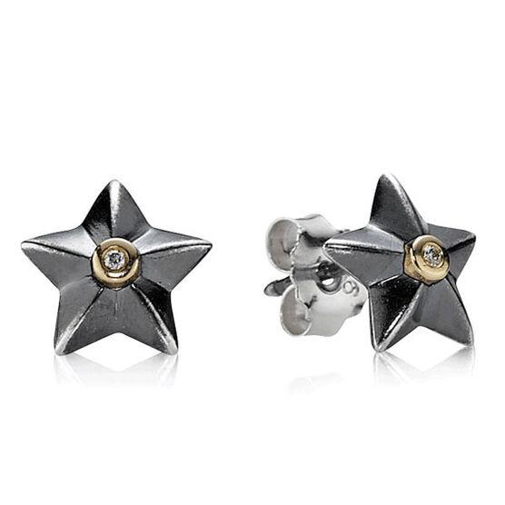 PANDORA Stella Earrings, Silver & 14K  RETIRED