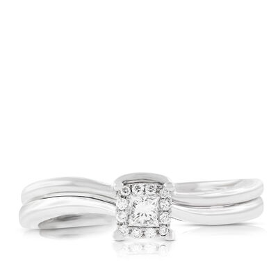 Diamond Princess Cut Halo Bridal Set 14K