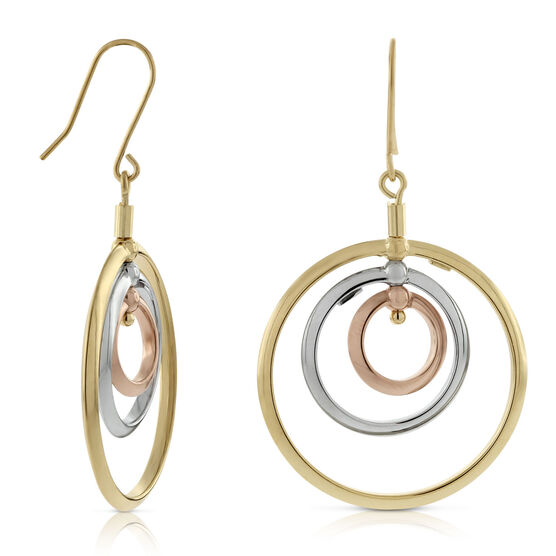 Toscano Collection Spinning Tricolor Circle Earrings 18K