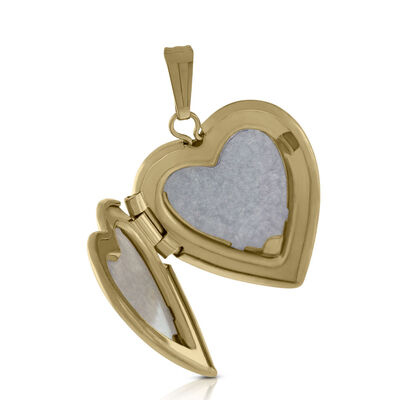 Hand Engraved Tri-Color Heart Locket 14K