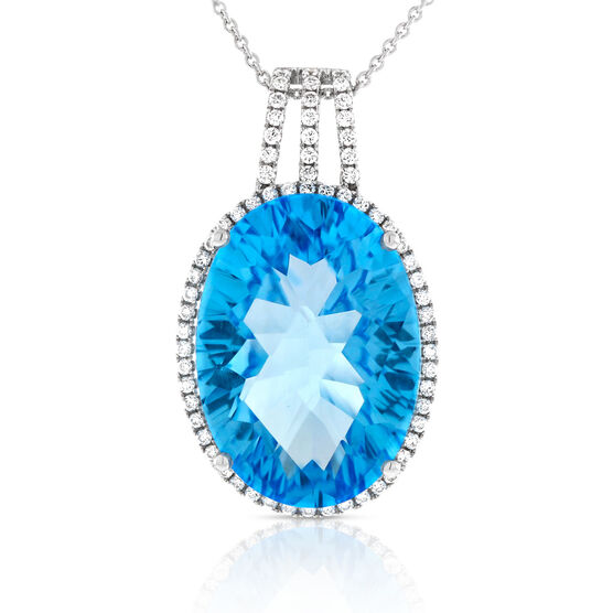Oval Blue Topaz & Diamond Pendant 14K