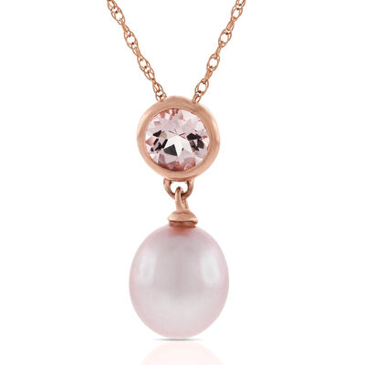 Freshwater Cultured Pearl & Morganite Drop Pendant 14K