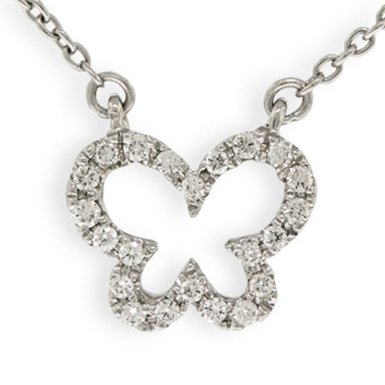 Tiny Butterfly Diamond Necklace 14K