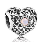 PANDORA October Signature Heart Charm