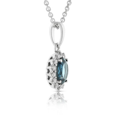 Blue Topaz & Diamond Pendant 14K
