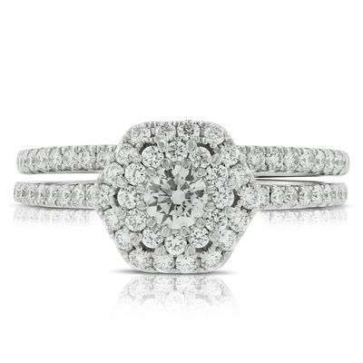 Diamond Halo Wedding Set 14K