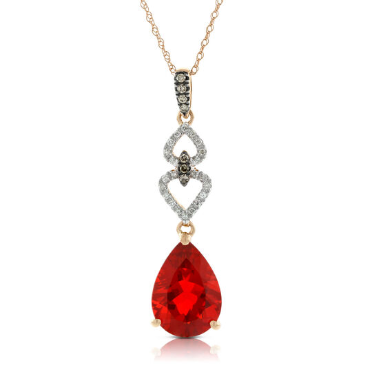 Pear Fire Opal & Diamond Pendant in Rose Gold 14K