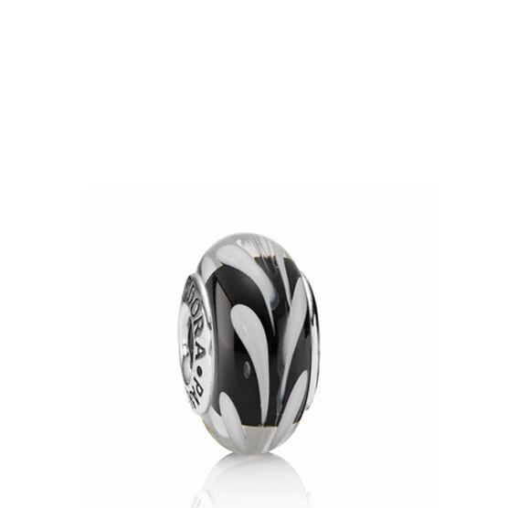 PANDORA Black/White Swirly Swirl Charm RETIRED