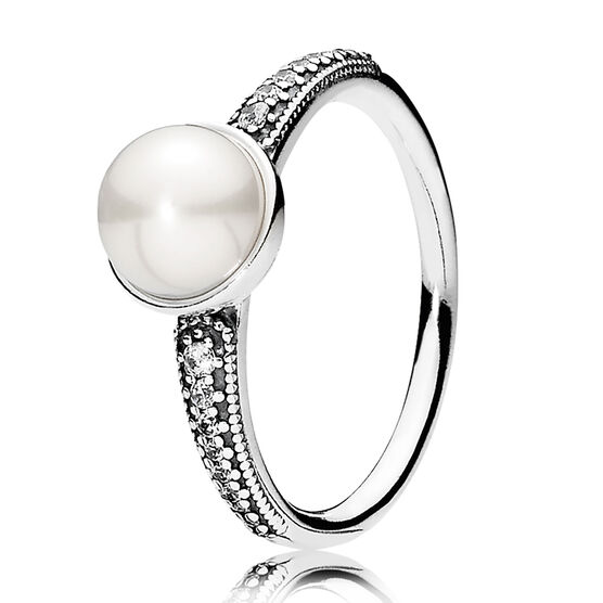 PANDORA Elegant Beauty Cultured Pearl & CZ Ring