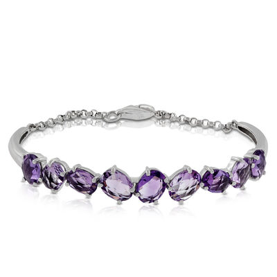 Amethyst Bangle & Chain Bracelet 14K