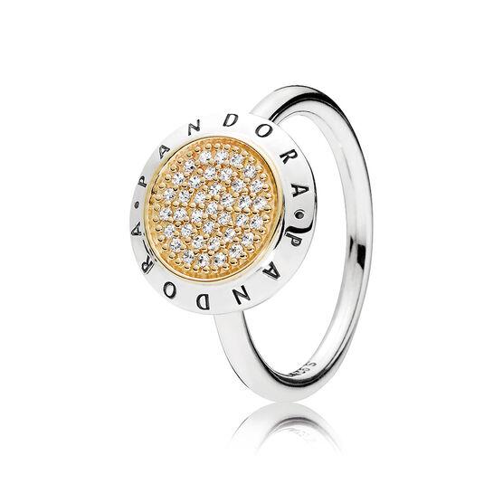PANDORA Signature CZ Ring, Silver & 14K