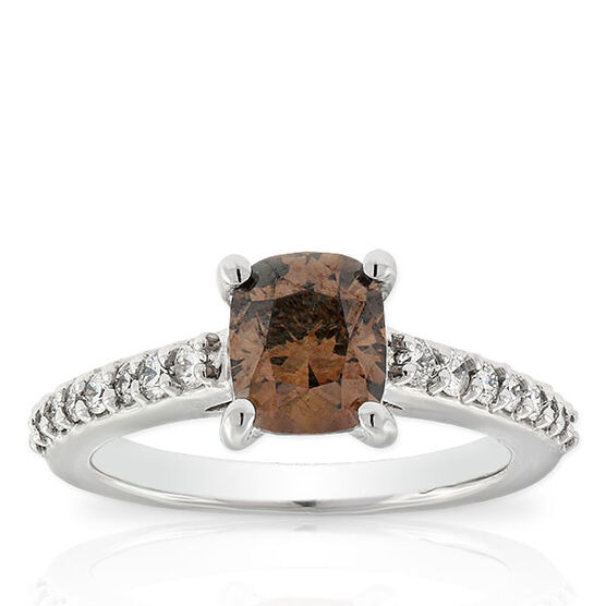 Cushion Cut Brown Diamond Ring, 1.58 Ct. Center, 14K