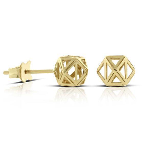 Geometric Stud Earrings 14K