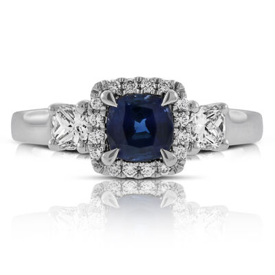 Cushion Sapphire & Diamond Ring 14K