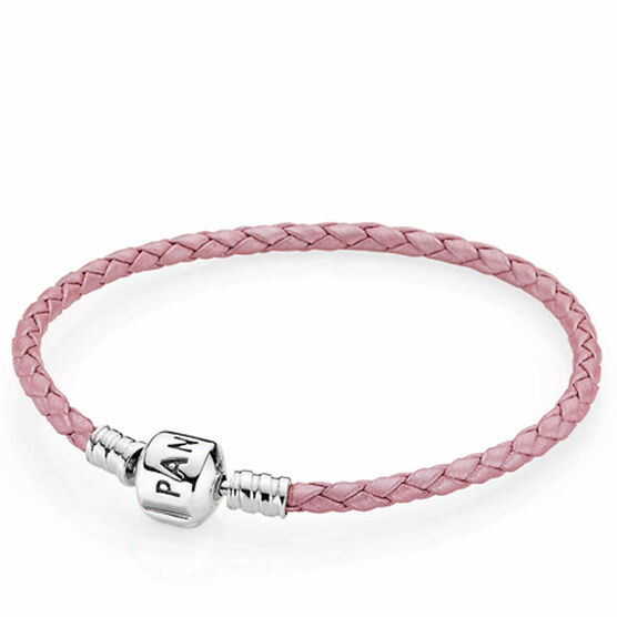 PANDORA Pink Leather Clasp Bracelet RETIRED 7.5""
