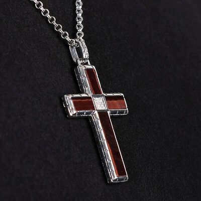 Tiger Eye & Diamond Cross Necklace in Sterling Silver