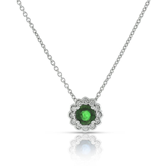 Emerald & Diamond Halo Pendant 14K