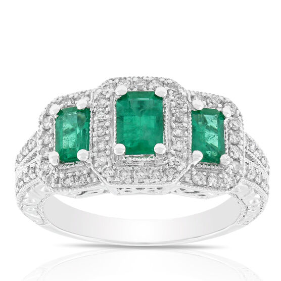 Emerald & Diamond Three-Stone Ring 14K