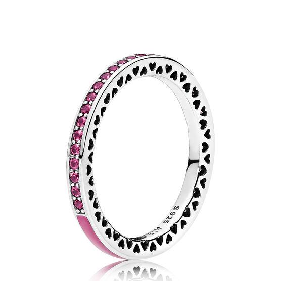 Radiant Hearts of PANDORA Ring, Orchid Enamel & Crystals